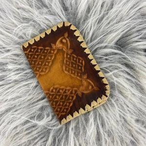 Leather Handmade Etched Western Passport Holder